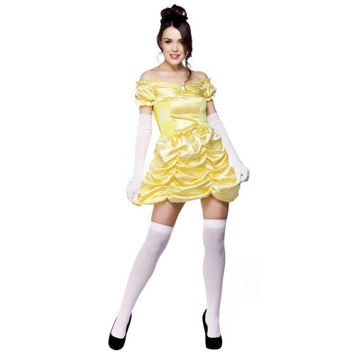 Ladies Beautiful Belle Costume for Fairytales Fancy Dress Womens